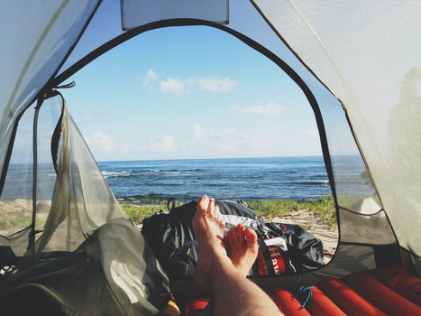 Free stock photo of feet, morning, adventure, camping