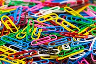 paper clips, blur, colorful