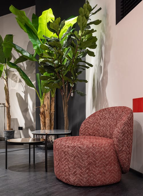 Red armchair in stylish room