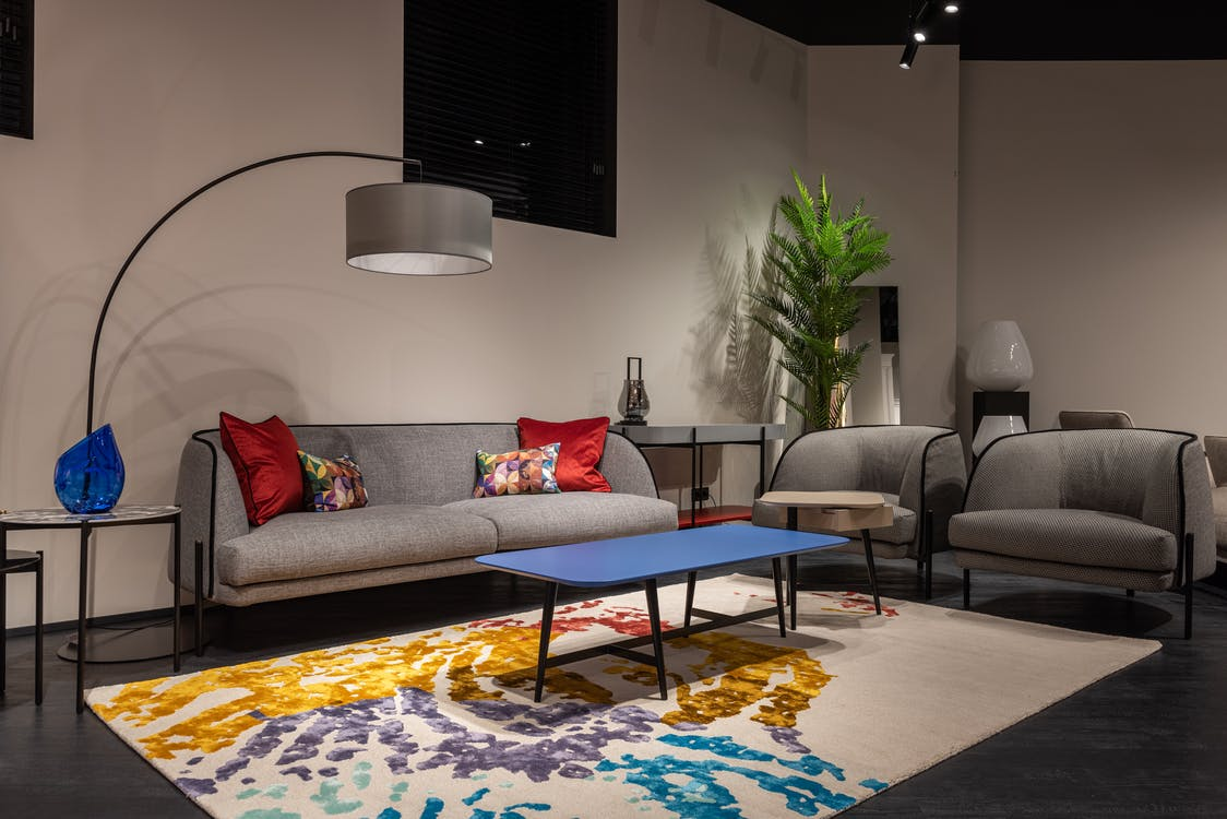 Sofa and armchairs in modern room
