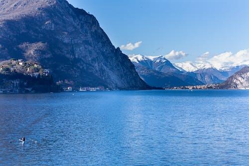 Blue Body of Water Near Mountain