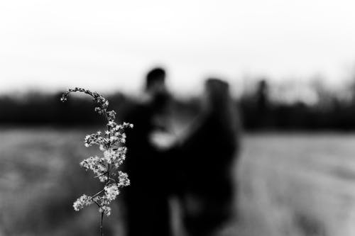 Grayscale Photo of Man and Woman Standing on Grass Field