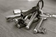 black-and-white, metal, keys
