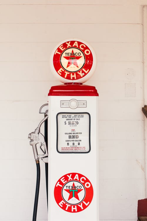 Red and White Gas Pump