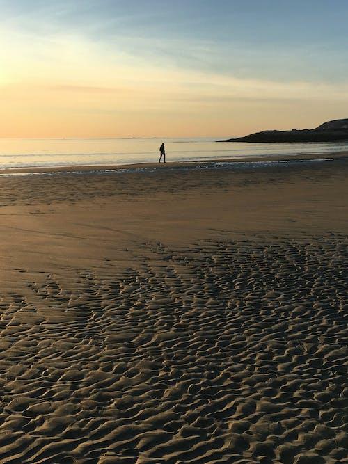 Person silhouette walking on sandy seacoast in twilight