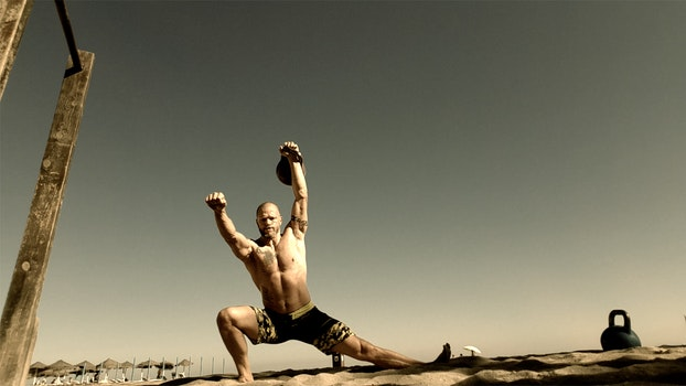 Free stock photo of beach, muscle, kettlebell, kettlebells