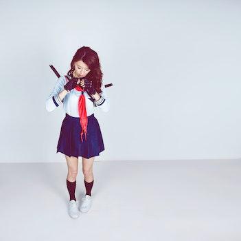 Woman Wearing School Girl Costume
