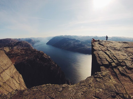 Free stock photo of people, cliff, river, view