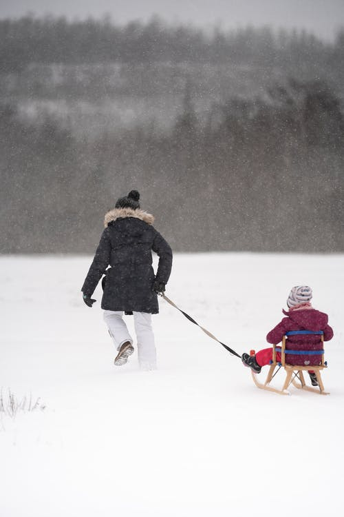 Back view anonymous mother in outerwear pulling sleigh with little daughter on snowy meadow in frozen winter nature during snowfall