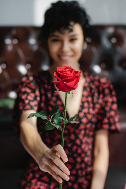 Smiling woman showing fresh blooming rose