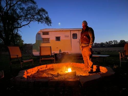 Free stock photo of at night, bonfire, camper