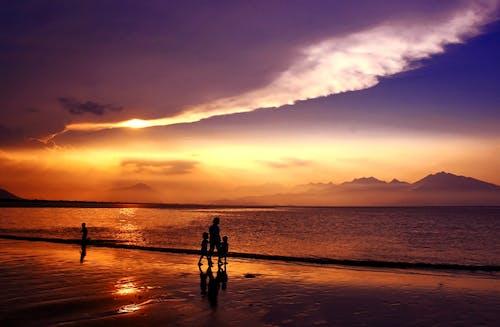 Photos gratuites de côte, coucher de soleil, eau, gens