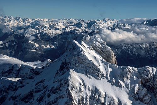 Majestic mountain range with snow in wintertime