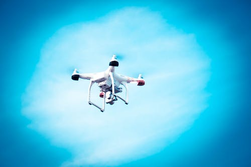 White and Black Quadcopter