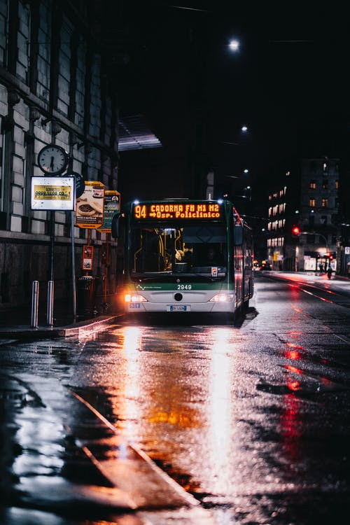 Free stock photo of after rain, blur, bus