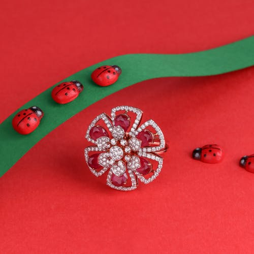 Silver and Red Floral Pendant Necklace