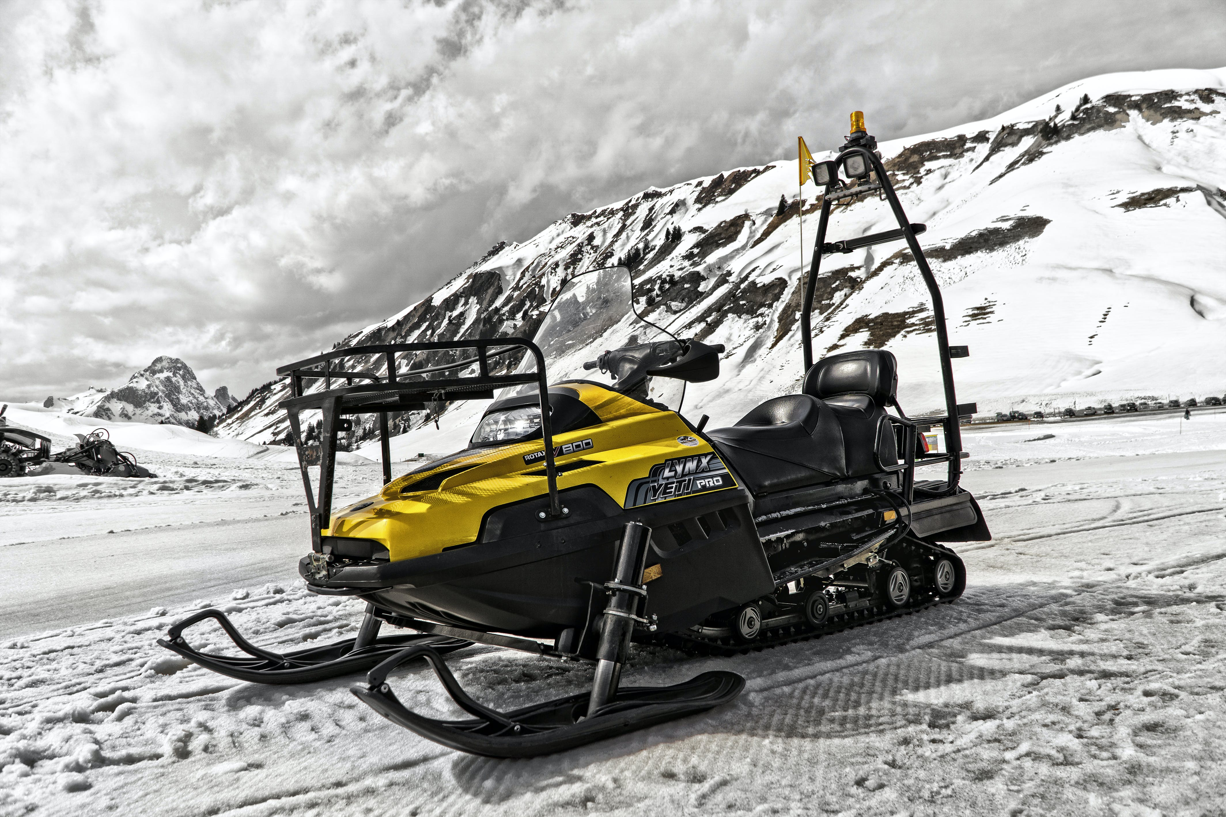 Yellow and Black Snowmobile