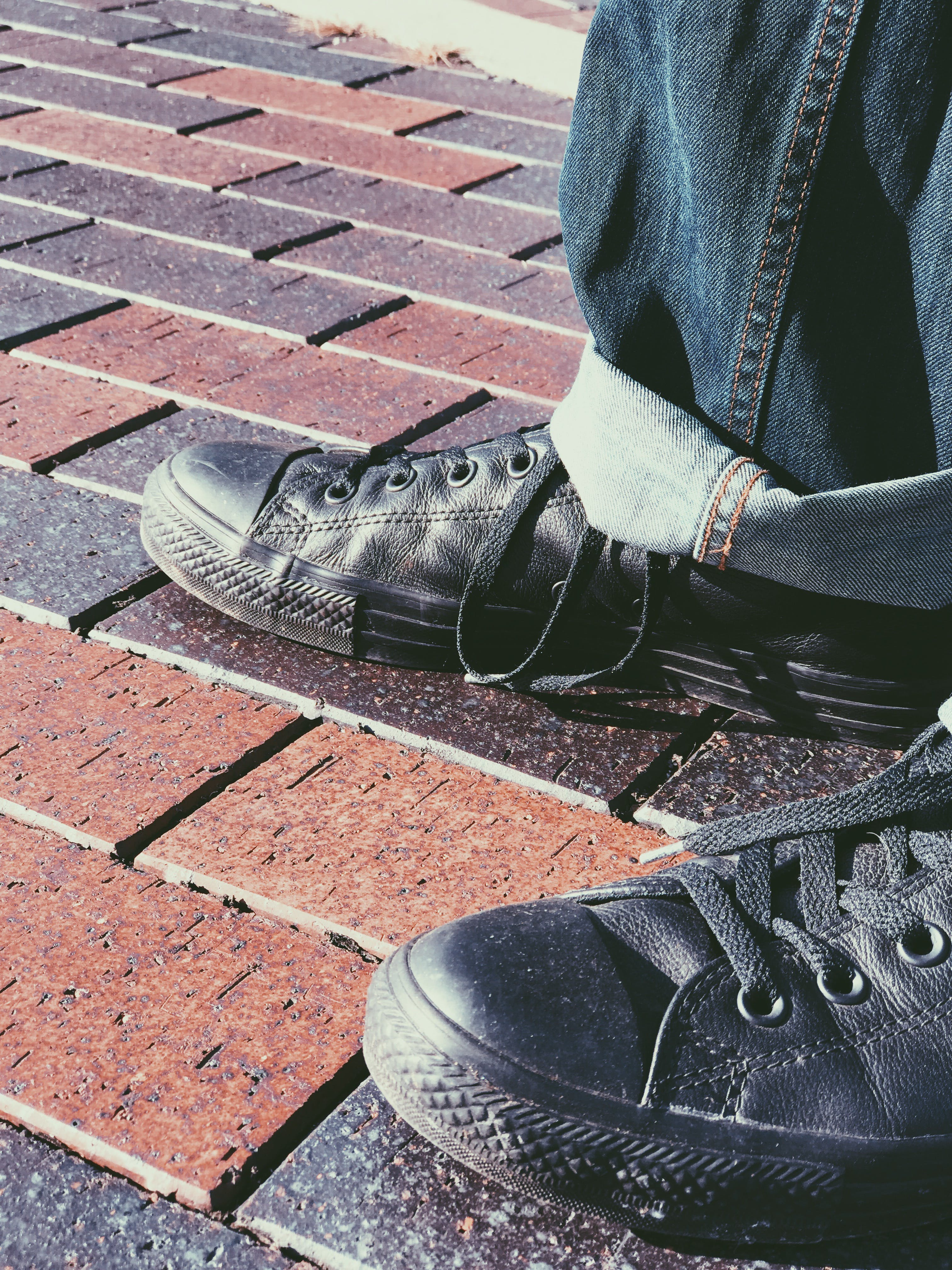Free stock photo of black, leather, converse all star, converse
