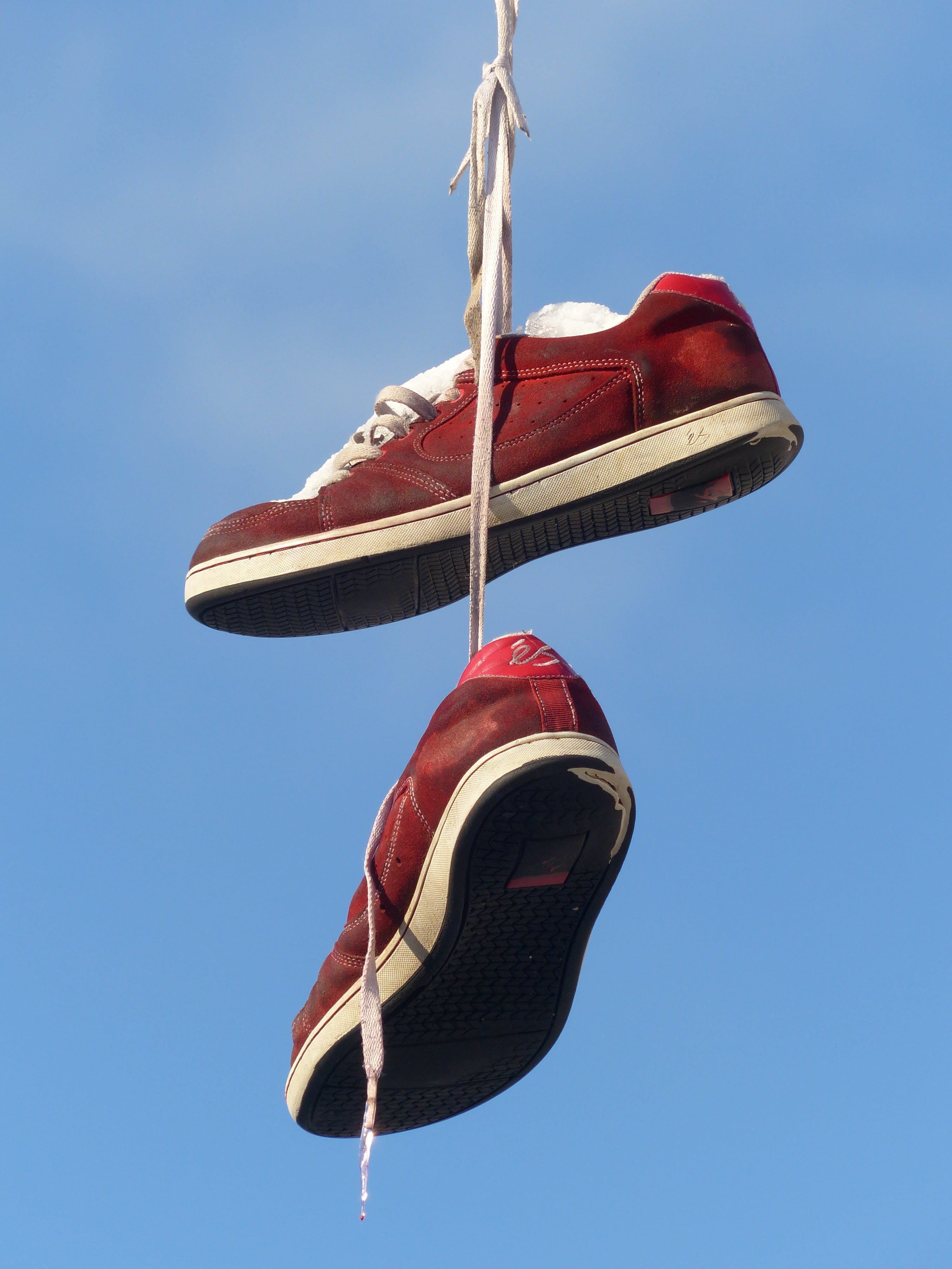 Red and White Hanging Sneakers during Daytime