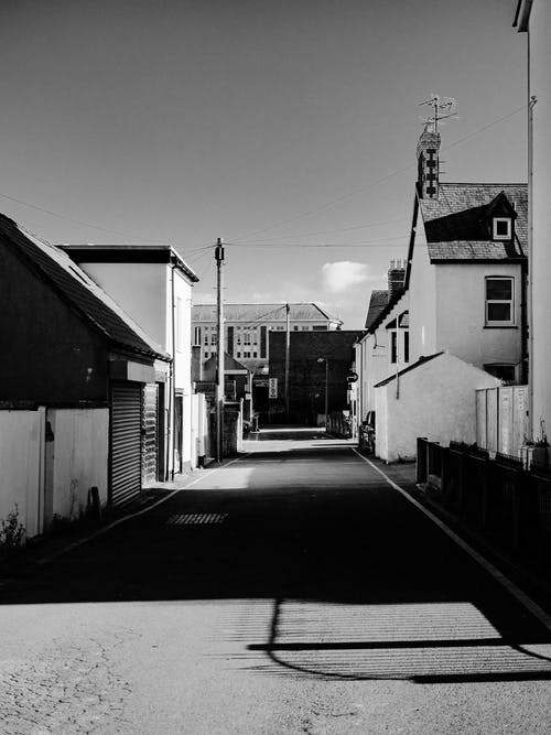 Grayscale Photo of Houses Near Road