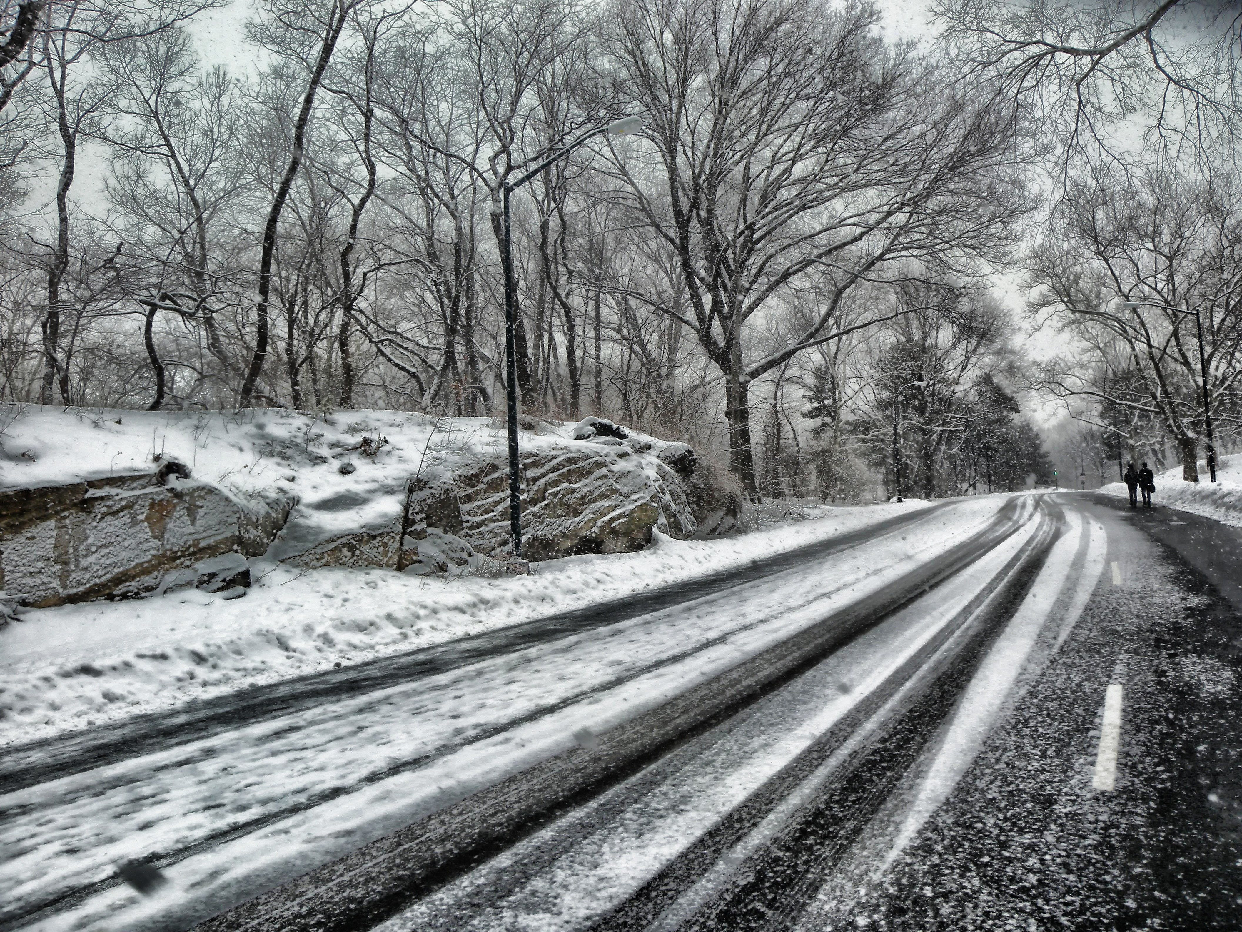 Snowy Road during Daytime