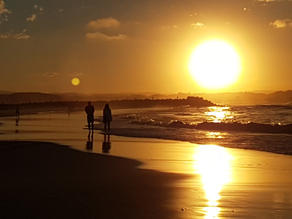 beach, couple walking, golden sun