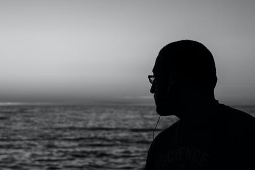 Free stock photo of black and white, eye glasses, guy, headphones