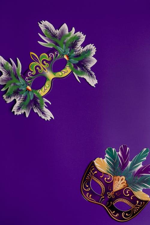 Masks On Purple Background