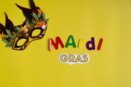 Mardi Gras Text And Mask On Yellow Background