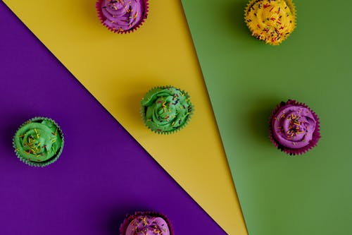 Cupcakes With A Colorful Background