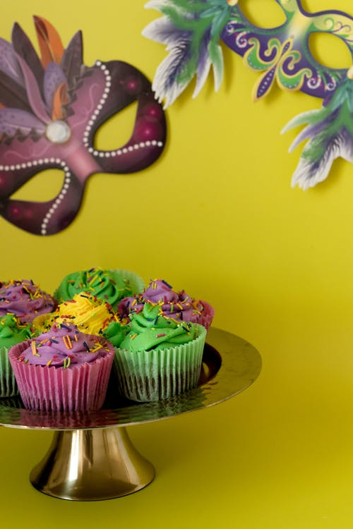 Colorful Cupcakes And Masks With Yellow Background