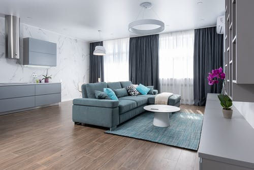 Spacious living room with furniture