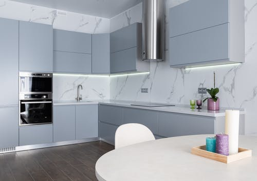 Interior of contemporary kitchen with aromatic candles