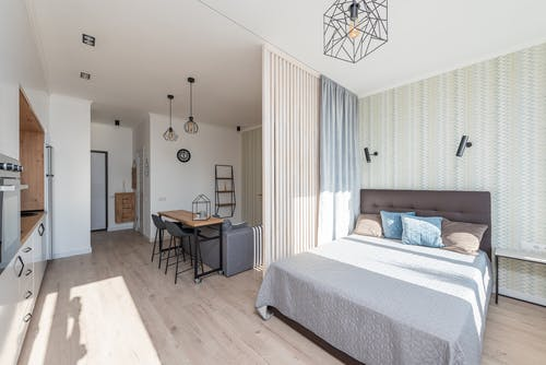 Light studio apartment with soft bed and sofa against cabinets of white kitchen in simple modern design