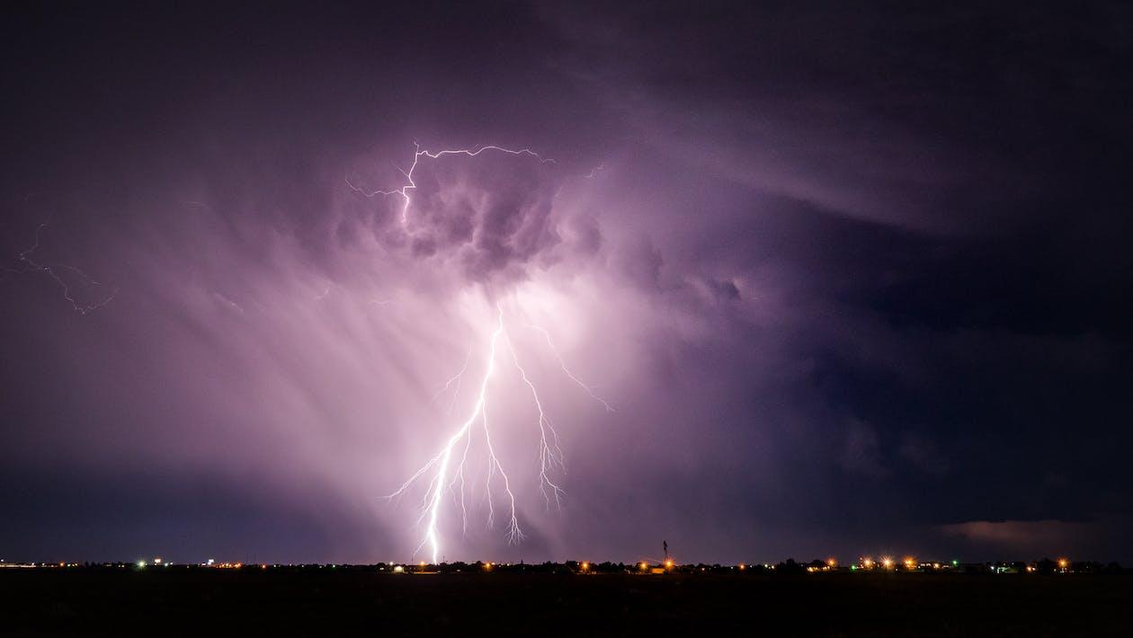 Lightning Strike on the Sky at Night