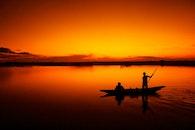 fishing, sky, sunset