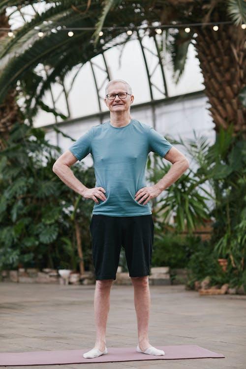 Man Standing on a Yoga Mat