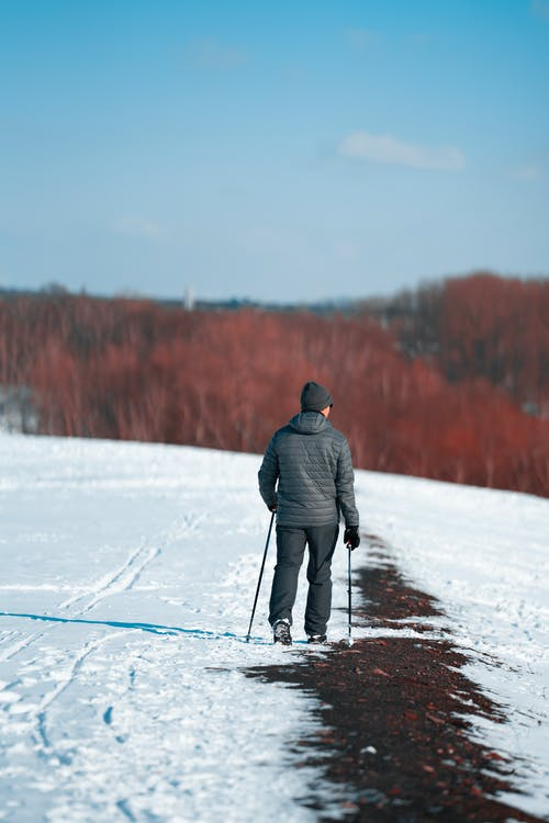 Unrecognizable man walking with sticks in winter nature
