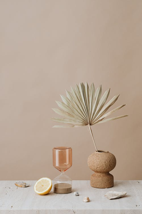 Foto stok gratis daun palem, irisan buah, jam pasir