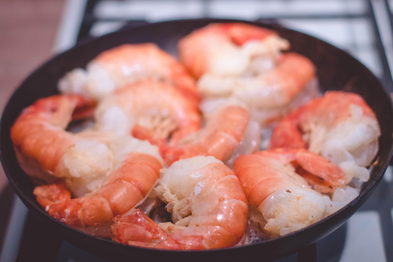 Shrimp on Black Pan