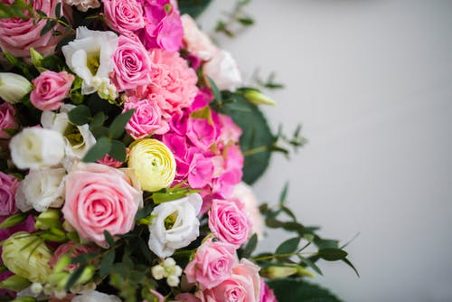 Bouquet of fresh flowers with green leaves