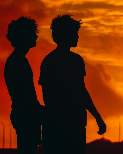 Silhouette of 2 Person during Sunset