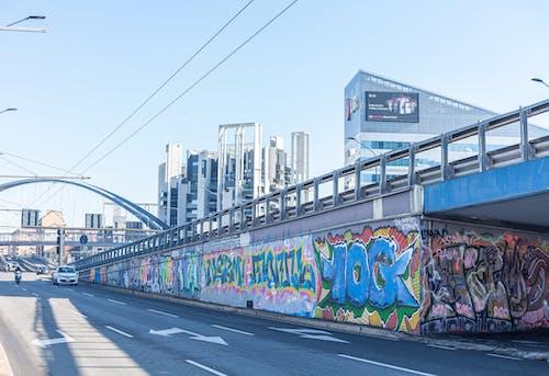 Free stock photo of apartment buildings, art, bridge