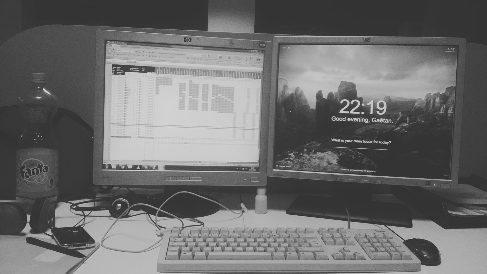 Free stock photo of black and white, mess, workspace