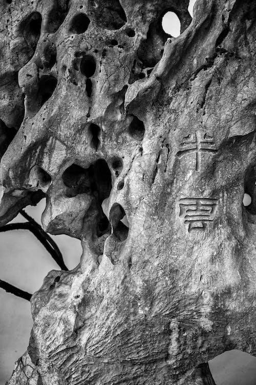 Oriental hieroglyphs on rough stone