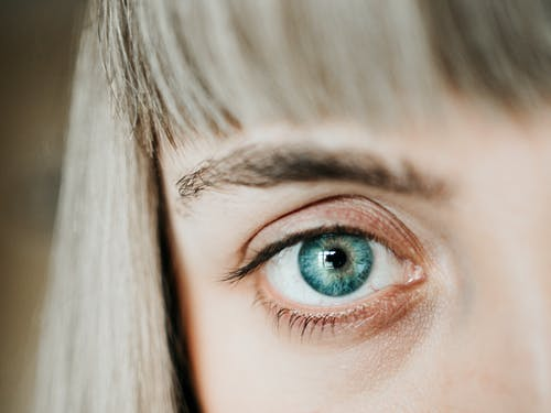 Womans Blue Eyes in Close Up Photography