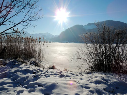 Free stock photo of brightsun, frozen lake, sun glare