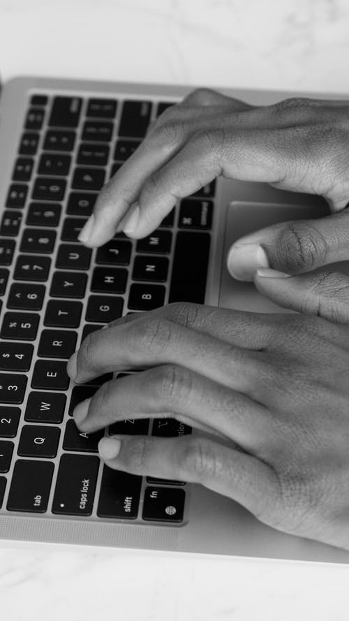 Free stock photo of black and white, hands, keyboard
