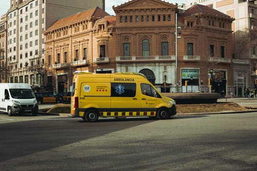 Yellow Van Parked on Road Side