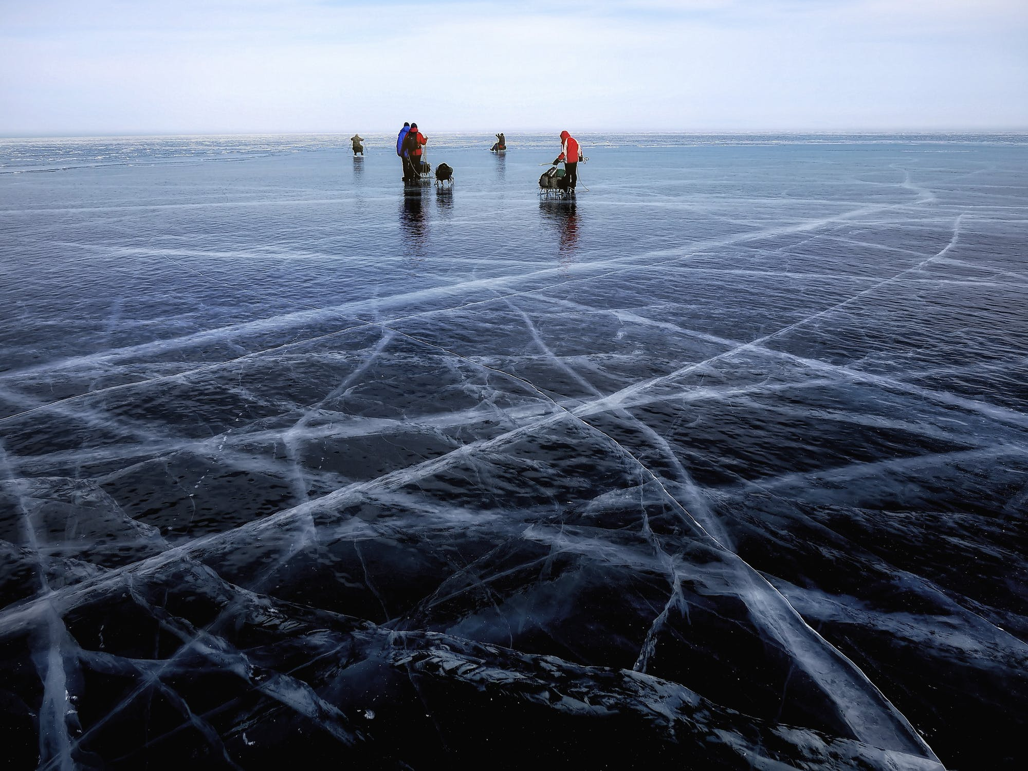Anglers head out to frozen lakes during the winter fishing season.